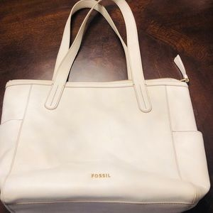 Fossil White Leather Zippered Tote Bag